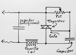Circuit for the Leviton dimmer. The potentiomer, thyristor, and capacitor comprise the basic control circuit.