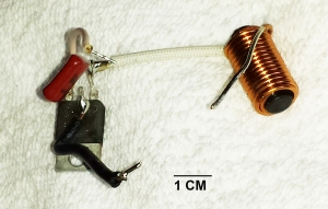 Components of the Dimmer - thyristor, small ferrite core inductor, and resistor